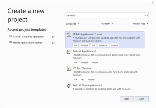 Getting started with Xamarin in Visual Studio 2019